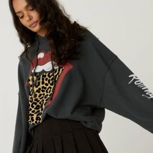 DayDreamer Rolling Stones Flocked Leopard Hoodie